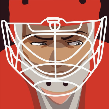 ice hockey player: vector illustration -ice hockey player red helmet portret