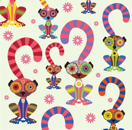 enamoured: Enamoured lemurs white background vector collection Illustration