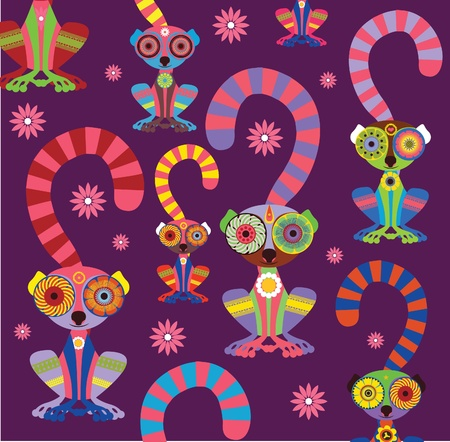 Enamoured lemurs violet background vector collection Vector