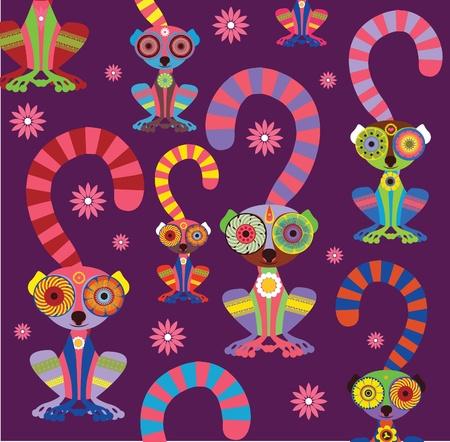 enamoured: Enamoured lemurs violet background vector collection