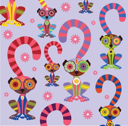 Enamoured lemurs violet background vector collection Stock Vector - 18465013