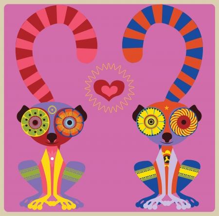 the enamoured: Pair of enamoured lemurs vector illustration Illustration