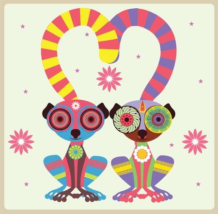enamoured: Pair of enamoured lemurs  vector illustration