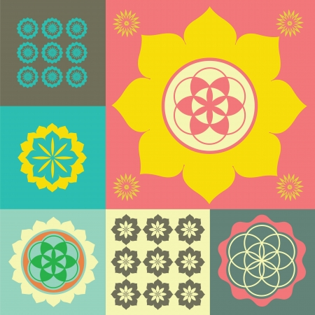 spiritual growth: Vector ornament from flower symbols special sense