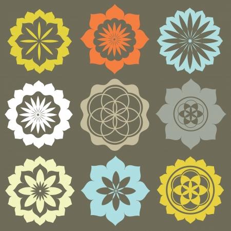 a sense of: Vector set of flower symbols special sense