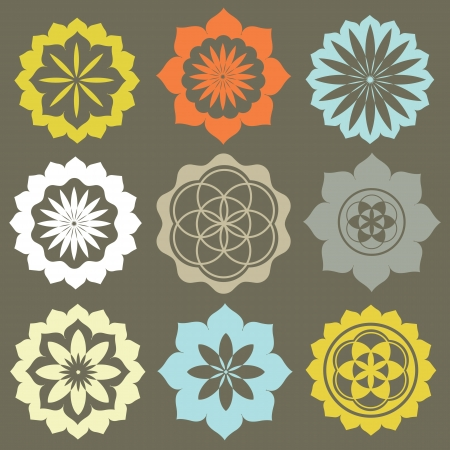 ancient philosophy: Vector set of flower symbols special sense