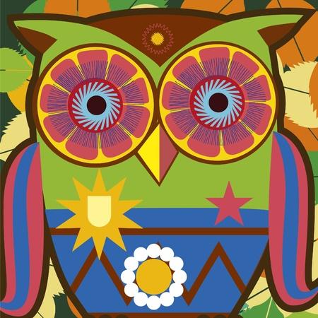 b�ho caricatura: retrato del arte psicod�lico de un b�ho c�mico Vectores