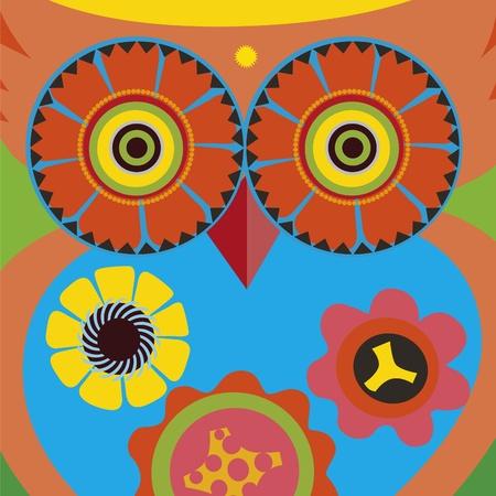 psychodelic art portrait of a �omic owl Stock Vector - 18464884