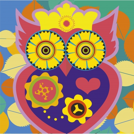 psychodelic art portrait of a comic owl  Vector