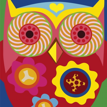psychodelic art portrait of a ñomic owl Stock Vector - 18464834