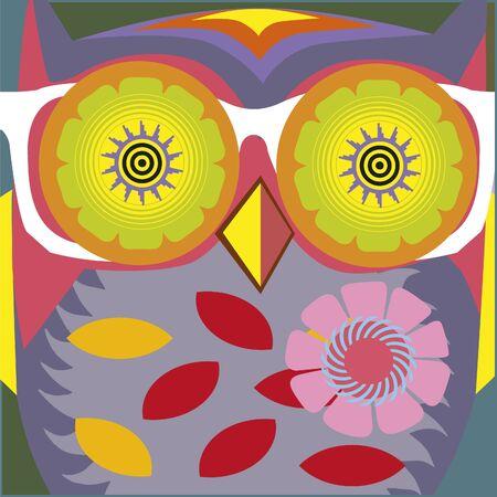 psychodelic art portrait of a �omic owl  Vector