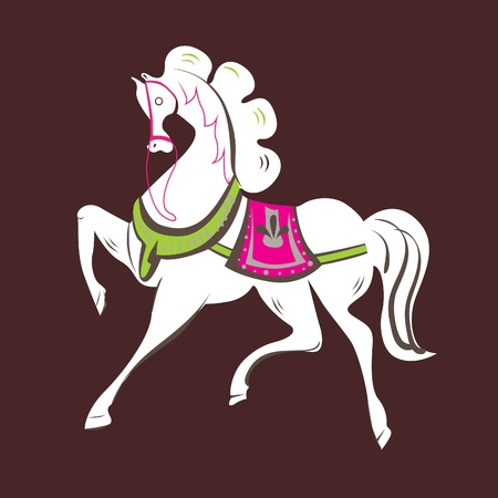 Vector Illustration of skipping beautiful white horse Vector