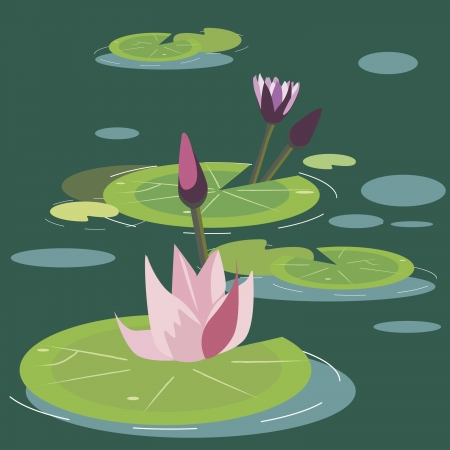 bog: blossoming lotuses on a bog Illustration