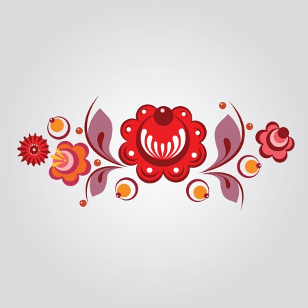 Russian Gorodets style flowers and berryes Vector