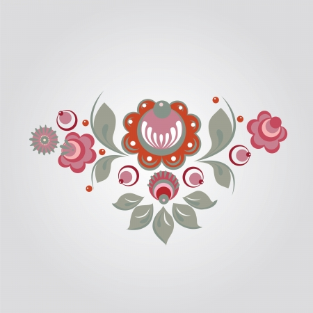 berryes: Russian Gorodets style flowers and berryes