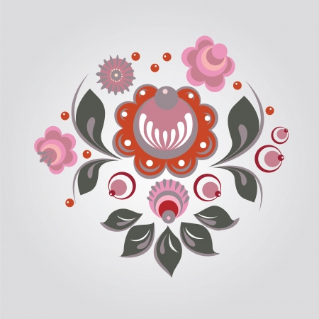 Russian Gorodets style flowers and berryes