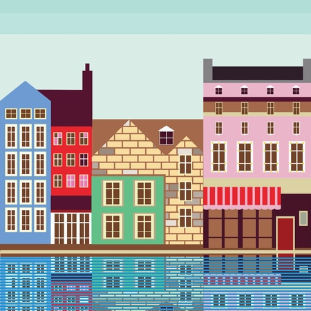European city on the river quality illustration Vector