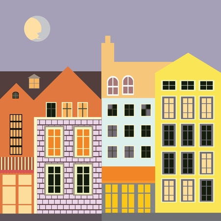 European city full moon view quality illustration Stock Vector - 18568539