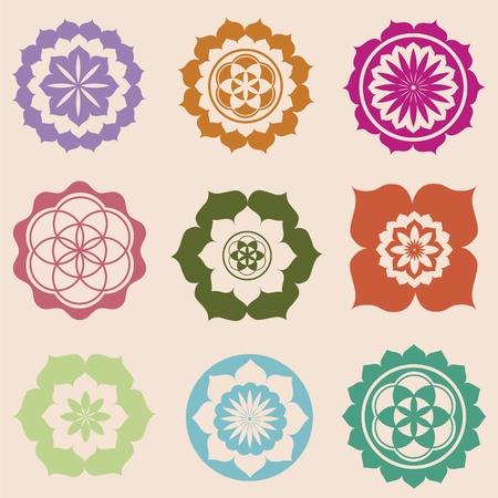 曼陀羅: 花の詳細な曼荼羅図  イラスト・ベクター素材