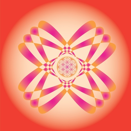 Color ornamental vector print. use for design and decoration and meditation-Flower of life seed mandala-spring edition Vector