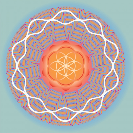 spiritual growth: Color ornamental print  use for design and decoration and meditation-Flower of life seed mandala-spring edition