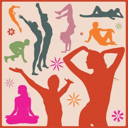 aport and yoga asana silhouettes