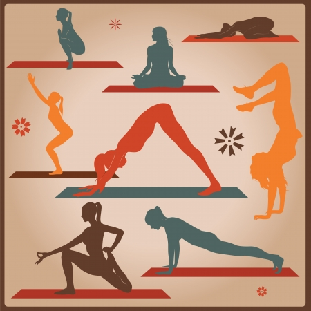 women yoga: female yoga asana silhouettes