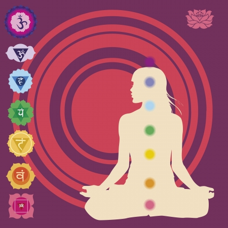 Seven chakras  for yoga Illustration