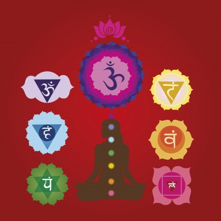 tantra: Woman silhouette  with the symbols of seven chakras  Illustration