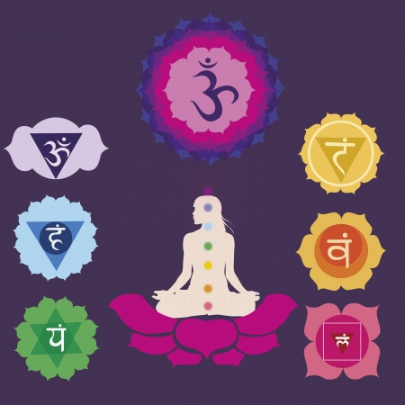 kundalini: Woman silhouette in yoga position with the symbols of  seven chakras