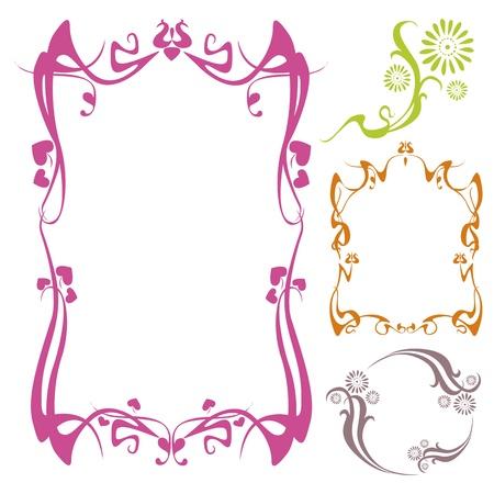 gothic revival style: neo art nouveau floral frame designs