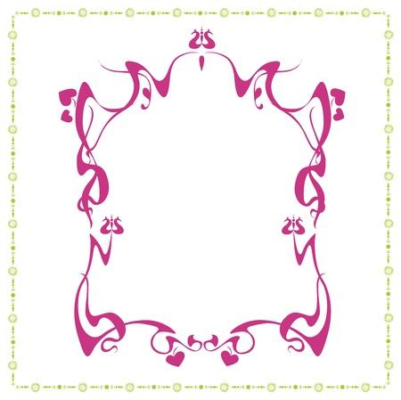 neo art nouveau floral frame designs Vector
