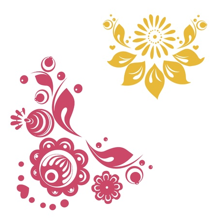 russian style floral designs Vector