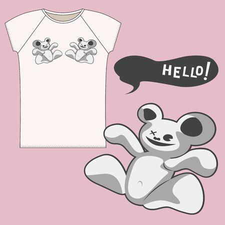 estrella caricatura: ilustración de la historieta del oso de T-shrt Vectores