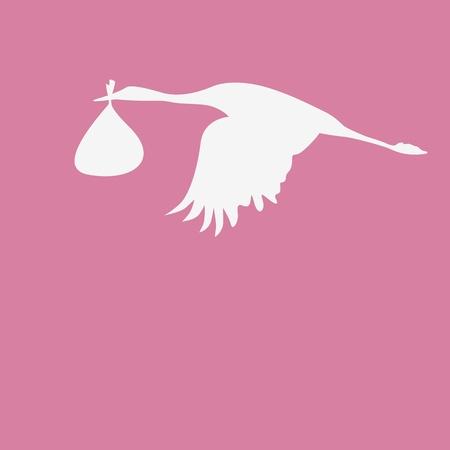 egret: crane with a bag with newborn Illustration