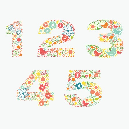 Ornamental floral numbers 1 2 3 4 5 Vector
