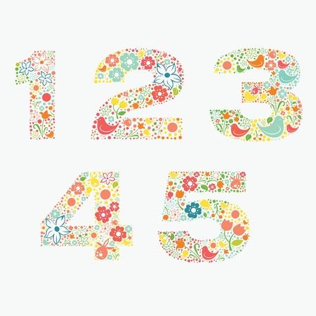 berryes: Ornamental floral numbers 1 2 3 4 5
