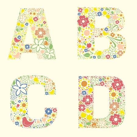 feuille de vigne: Lettres florales décoratives ABCD