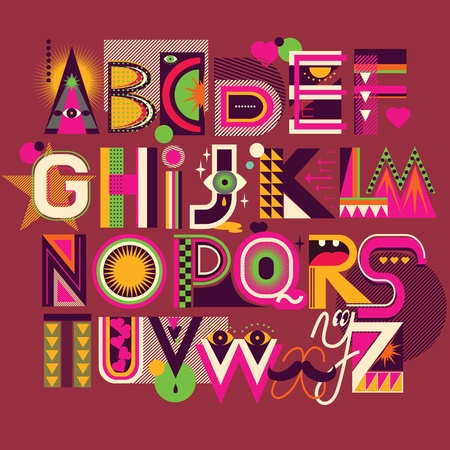 Color art alphabet Vector