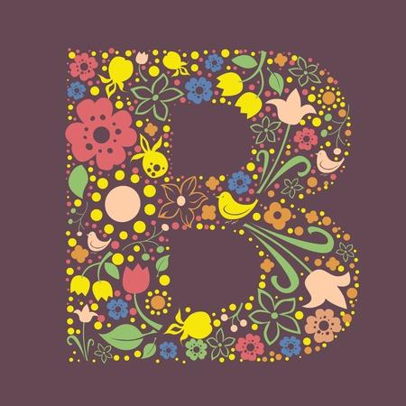 uppercase: Ornamental floral letter B Illustration