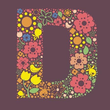 Ornement floral lettre D