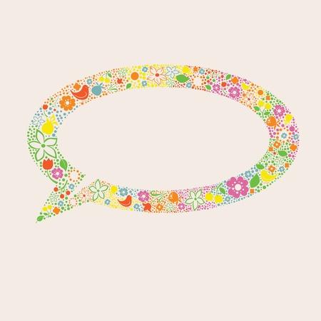 berryes: floral ornamental  speech balloon illustration Illustration