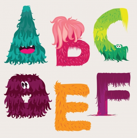Cartoon ABCDEF letters characters Vector