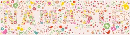 namaste: floral NAMASTE banner