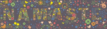 namaste: Ornamental floral NAMASTE banner