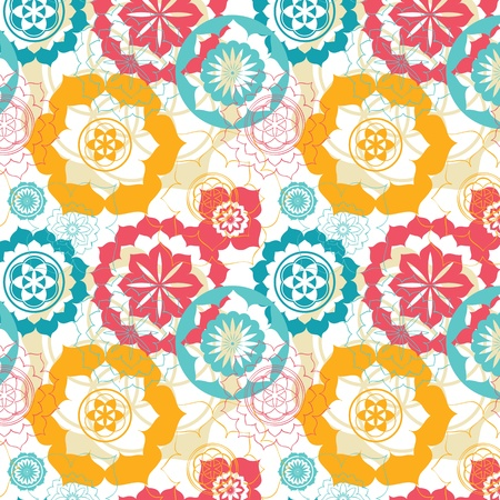 floral sacred geometry lotus seamless pattern Vector