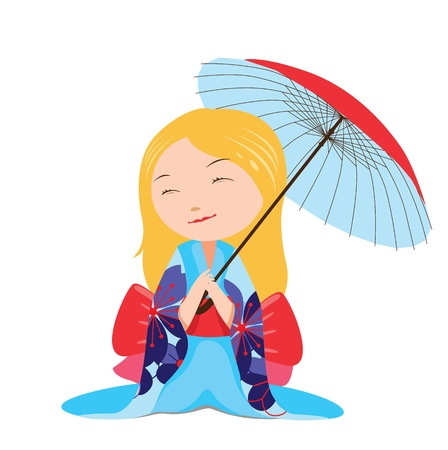 Kawaii japanese girl with blue umbrella Vector