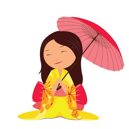Kawaii japanese girl with red umbrella Vector