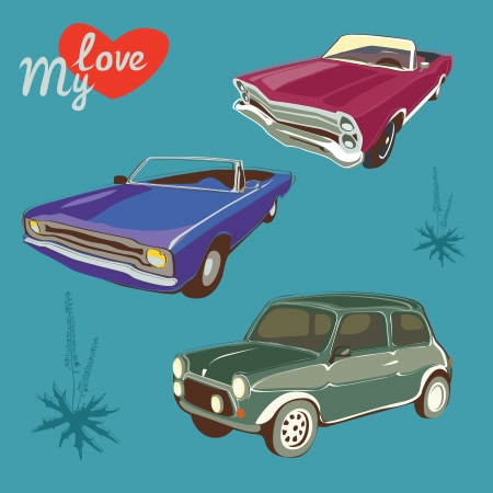 classic cars: isolated retro car collection
