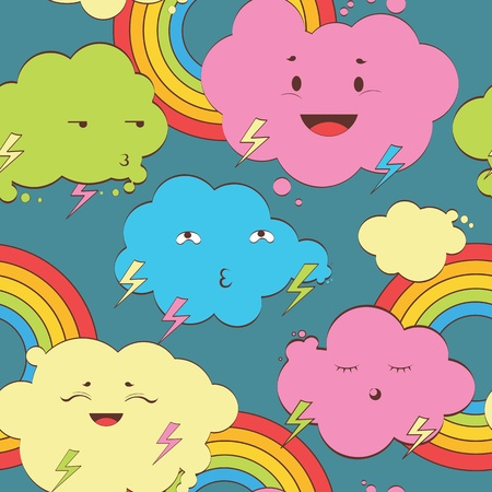 kawaii clouds seamless pattern Vector